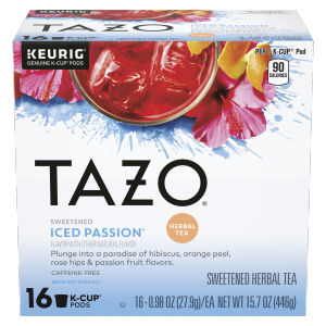 Tazo Tea CUP Iced Passion Herbal Tea 16 PC
